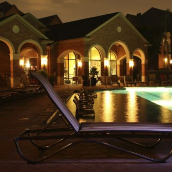 pool chair at night