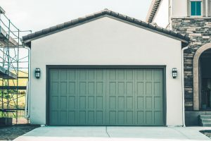 green garage door