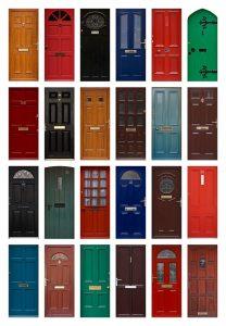 collage of doors
